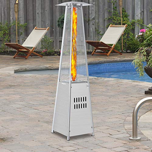 ReunionG Patio Heater Tall Stainless Steel Pyramid Propane Glass Tube Outdoor Heaters 40,000BTU with Dancing Flames