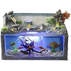 Aquarium Decoration Small Desk Surface Decoration Household Fountain Micro Landscape Decoration Lazy Aquarium Wind Wheel Ornaments Decorating & Design (Color : Black, Size : 442431cm/17912inch)