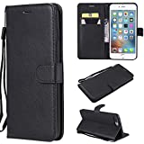 Flip Wallet Case for iPhone 7,Gostyle iPhone 8 Premium PU Leather Case with Credit Card Holder,Retro Book Style Stand Cover with Magnetic Closure Hand Strap-Black
