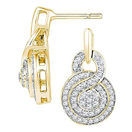 (Womens Round Diamond Concentric Circle Cluster Earrings 1/2-Carat tw, in 10K Yellow Gold from Roy Rose Jewelry)