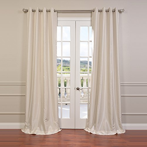 Dupioni Silk Lined Drapes (Half Price Drapes PDCH-KBS2-108-GRBO Grommet Blackout Vintage Textured Faux Dupioni Silk Curtain, Off White)