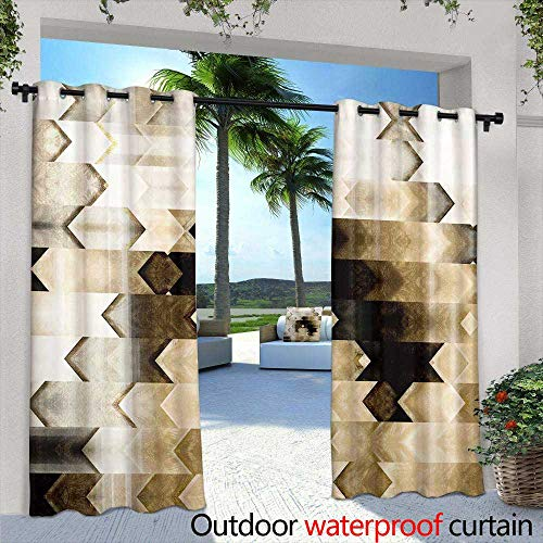 (Outdoor- Free Standing Outdoor Privacy Curtain,Art Deco Vector Geometric Pattern in Bright Yellow Seamless Texture for Web, Print, Wallpaper, Wrapping, Home Decor, Winter Fashion, wedd)