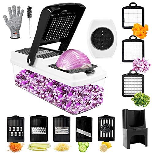 Vegetable Chopper, TATUFY 10 in 1 Mandoline Slicer Food Chopper Cuber Cutter Onion Dicer, Veggie...