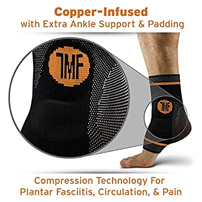 Compression Ankle Brace with Silicone Ankle Support and Anti-Microbial Copper. Plantar Fasciitis, Foot, Achilles Tendon Pain Relief. Prevent and Support Ankle Injuries & Soreness