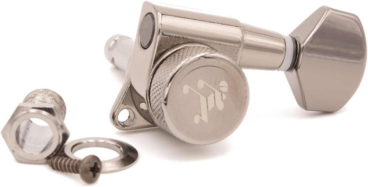 6 Inline Staggered Black Nickel Genuine Tone Ninja 19:1 Locking Tuners