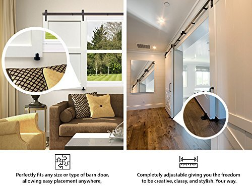 Fully Adjustable Wall Mounted Barn Door Guide - ORACLE GLIDE | IMPROVED DESIGN, Quiet, Lay-Flat System, Ball Bearing Technology, Safer Corners, Floor protecting. Hardware for Rolling and Sliding Doors by -ORACLE- (Image #5)