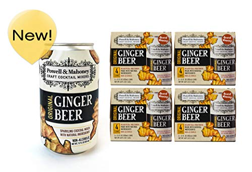 (Powell & Mahoney Craft Cocktail Mixers Original Ginger Beer, 12 Ounce Cans (16 Pack) Sparkling Non Alcoholic Craft Cocktail Mixer w/ Natural Ingredients Sweetened w/ Cane Sugar and Ginger Juice)