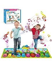 Dansmatten pianomat muziekmat piano mat kinderspeelgoed cadeau voor meisjes jongens baby vanaf 1 2 3 4 5 jaar oud, keyboard matten speelkleed dansmat met 8 instrumenten (110 x 36 cm)