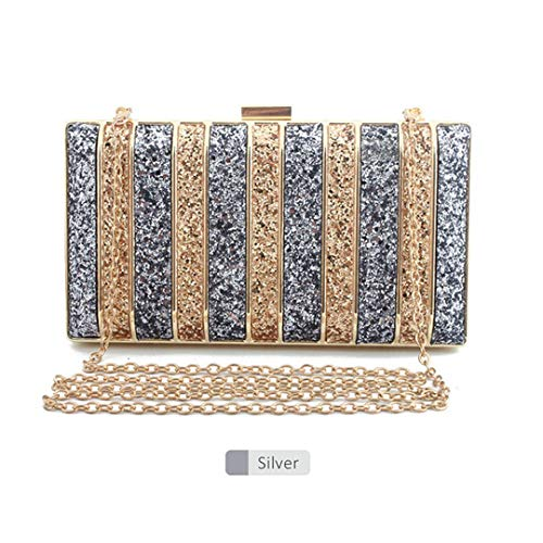 Panelled Sequin Clutch Purse Rhinestones Evening Bag For Women Bridesmaid Chain Bags Purse Sliver