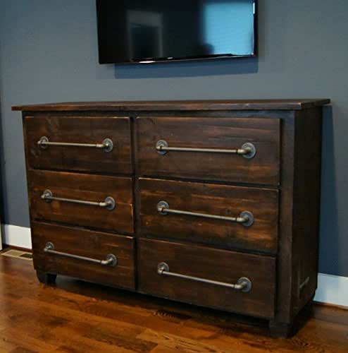 Six drawer dresser with industrial pulls handmade for Bedroom furniture amazon
