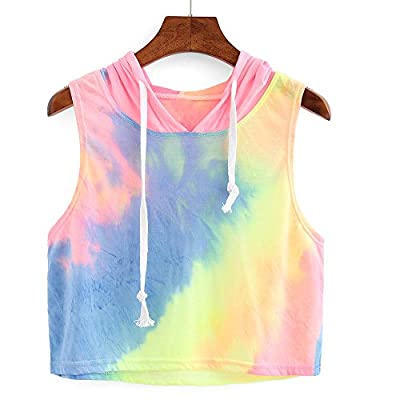 Women Shirts Teen Girls Casual Summer Sleeveless Tie Dye Hooded Crop Tank Tops Cami Racerback Vest Tops Blouse