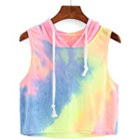 Womens Girls Tank Top Tie Dye Ombre Print Hooded Crop Sleeveless T-Shirt Fashion Tops
