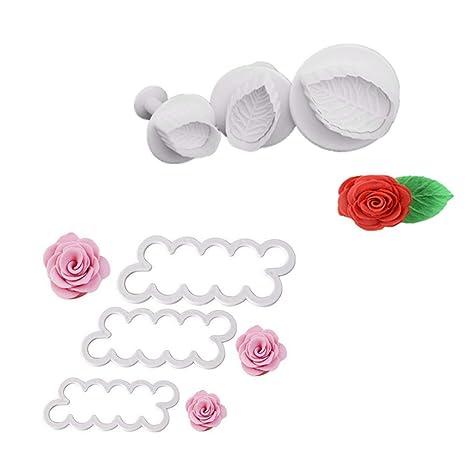 G.YO Moldura de rosas y hojas 3D pétalos cortador de pasteles Flor fondant glaseado