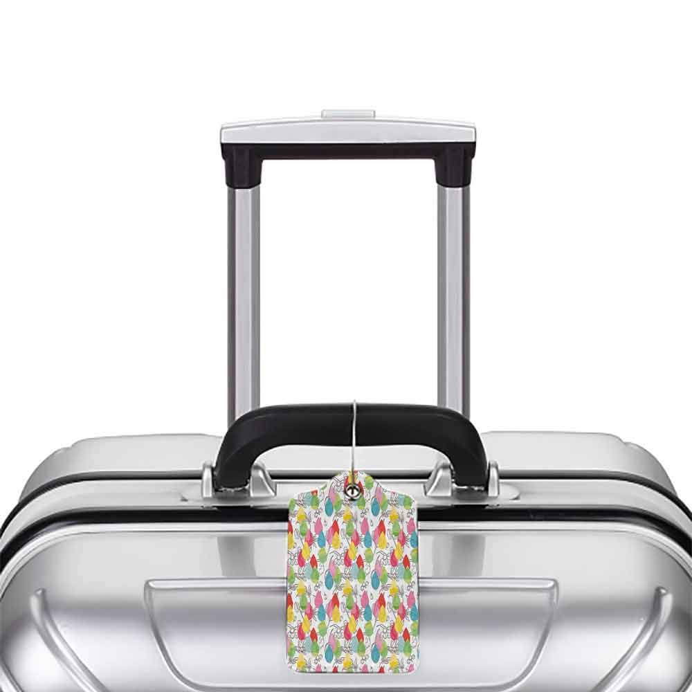 Soft luggage tag Modern Decor Rainbow Colored Ombre Abstract Raindrop Backdrop with Leaves and Flowers Image Bendable Multicolor W2.7 x L4.6