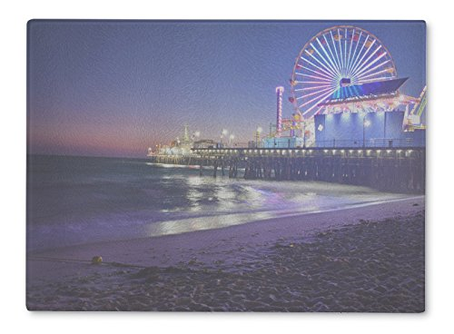 Gear New Glass Cutting Board and Serving Dish, Santa Monica Beach At Night, For Kitchen and Dining, 15x11, - Is Beach Clean Monica Santa