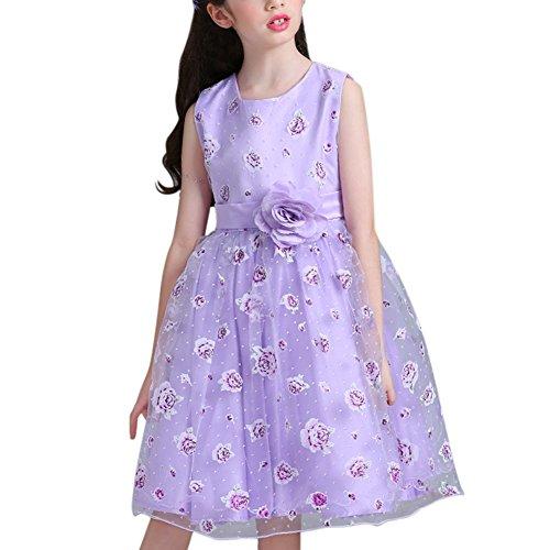 120cm Party Long Dress Sleeveless Princess Girl Dress-Purple - 9