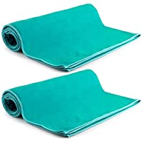 """MEGALOVEMART Set of 2 Super Absorbent 28"""" x 56"""" Suede Non Slip Microfiber Sports, Gym & Outdoor Towels - Turquoise"""