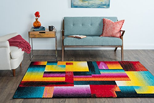 Universal Rugs Mondria Contemporary Abstract Multi Color Rectangle Area Rug,  8u0027 X 11u0027