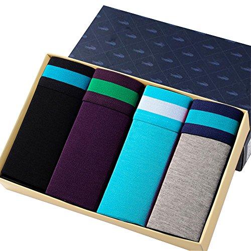 EYUSHIJIA Men's 4 Pack Comfortable Bamboo Fiber Modal Boxer Briefs (Small, E) -
