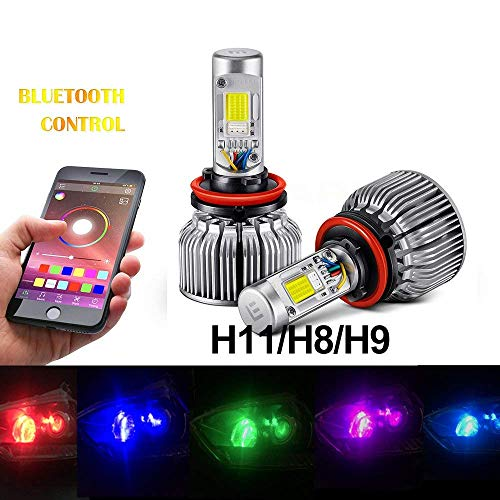 Beatto H11/H8/H9 RGB LED Headlight Bulb kit LED headlight Conversion APP Bluetooth Control multi-color Lights With Voice and Music Controls