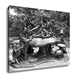 Ashley Canvas Alice in Wonderland Statue Central Park New York City, Wall Art Home Decor, Ready to Hang, Black/White, 16x20, AG5606245