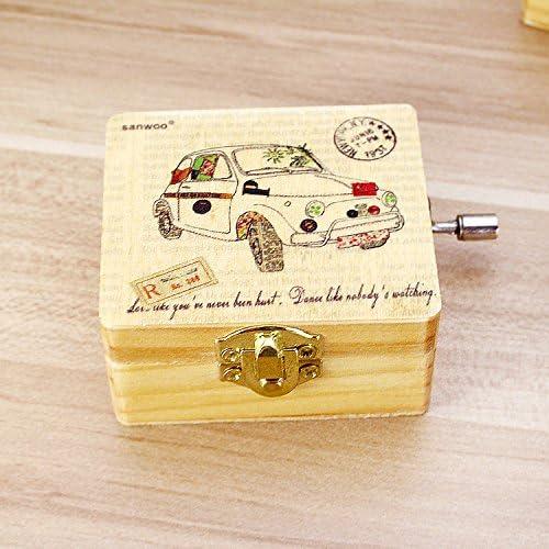 Vintage Madera Mecanismo Caja Musical Viento hasta Caja de música Regalo para Navidad cumpleaños día de la San Valentín niños con Coche Aleatorio Bus Imprimé Décor: Amazon.es: Hogar