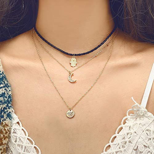 (Haluoo Layered Choker Necklace Moon Coin Palm Hemp Alloy Necklace Chain Clavicle Necklace Jewelry for Women Girls (Choker Necklace))