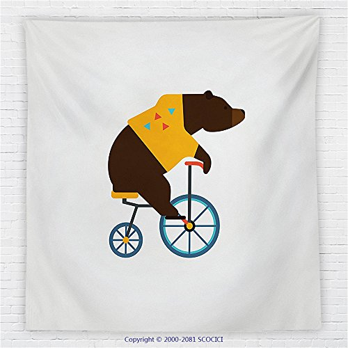 Social Media Icon Costumes (59 x 59 Inches Bicycle Decor Fleece Throw Blanket Big Teddy Bear Icon of Circus Riding Bicycle with Trendy Hipster Costume Animal Image Blanket)