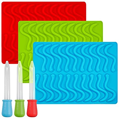 Gummy Worm Silicone Molds with 3 Droppers, SENHAI 3 Pack Gumdrop Molds Ice Cube Trays (Food Grade Cera)