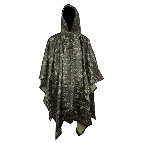 (Multifunction Military Camouflage Portable Emergency Rain Poncho, Hooded Ripstop Ripstop Raincoat Camo Nylon Totes Travel Rainwear for Camping Hiking Cycling Hunting (Digital))