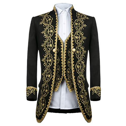 MAGE MALE Men's 3 Piece Luxurious Dress Suit Slim Fit Stylish Palace Blazer Casual Coats Jackets & Vest & Trousers