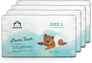 Amazon Brand - Mama Bear Gentle Touch Diapers, Hypoallergenic, Size 1, 196 Count (4 packs of 49)