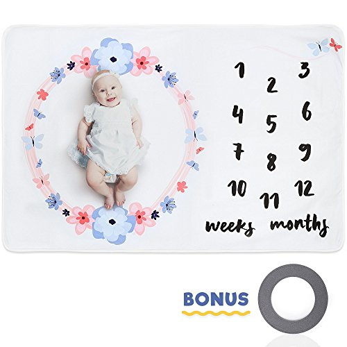 Baby Milestone Blanket in Premium Fleece - Extra Large 60 x 40 - with Bonus Milestone Frame, Newborn Photography Props for Girl or Boy - Weekly & Monthly Infant Growth Blanket