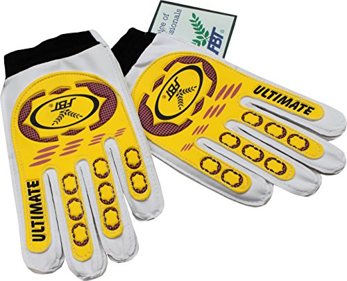 fan products of FBT Football Thailand Cruzeiro Soccer Goalie Goalkeeper Gloves Yellow and White