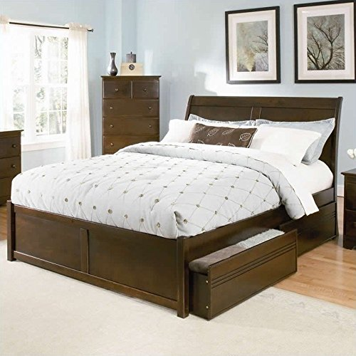 UPC 782219121133, Atlantic Furniture Bordeaux Platform Bed with Flat Panel Footboard in Antique Walnut - King
