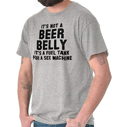 - Brisco Brands Beer Belly Fuel Tank Sex Machine Adult Gym T Shirt Tee Sport Grey