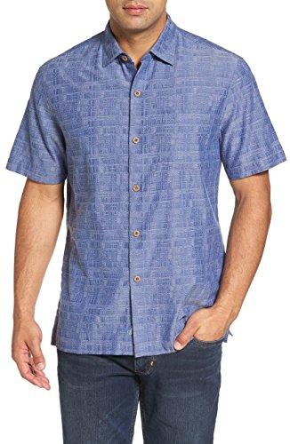 Two Pocket Camp Shirt (Tommy Bahama Getaway Grid Silk Blend Camp Shirt (Color Sanibel Blue, Size L))