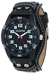 UNLISTED WATCHES Men's UL1256 City Streets Triple Black Analog Biker Strap Watch