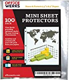 Heavyweight Clear Mini Sheet Protectors, 5.5'' x 8.5'', 100 Pack, Top Load,Reinforced Holes, Acid-Free/Archival Safe