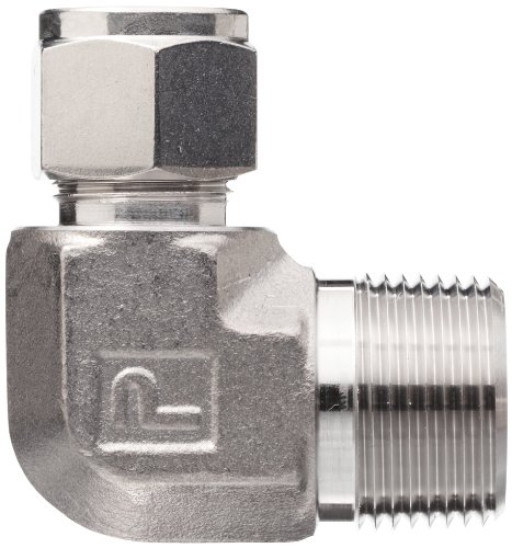 Parker A-Lok 8MSEL8N-316 316 Stainless Steel Compression Tube Fitting, 90 Degree Elbow, 1/2'' Tube OD x 1/2'' NPT Male by Parker (Image #2)