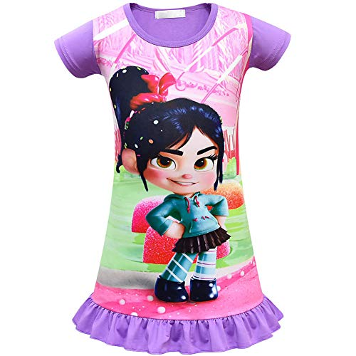 Cercur Girls Dress for Wreck-It Ralph Vanellope Baby Sugar Rush Party Dress up Costumes Pajama Nightgown]()