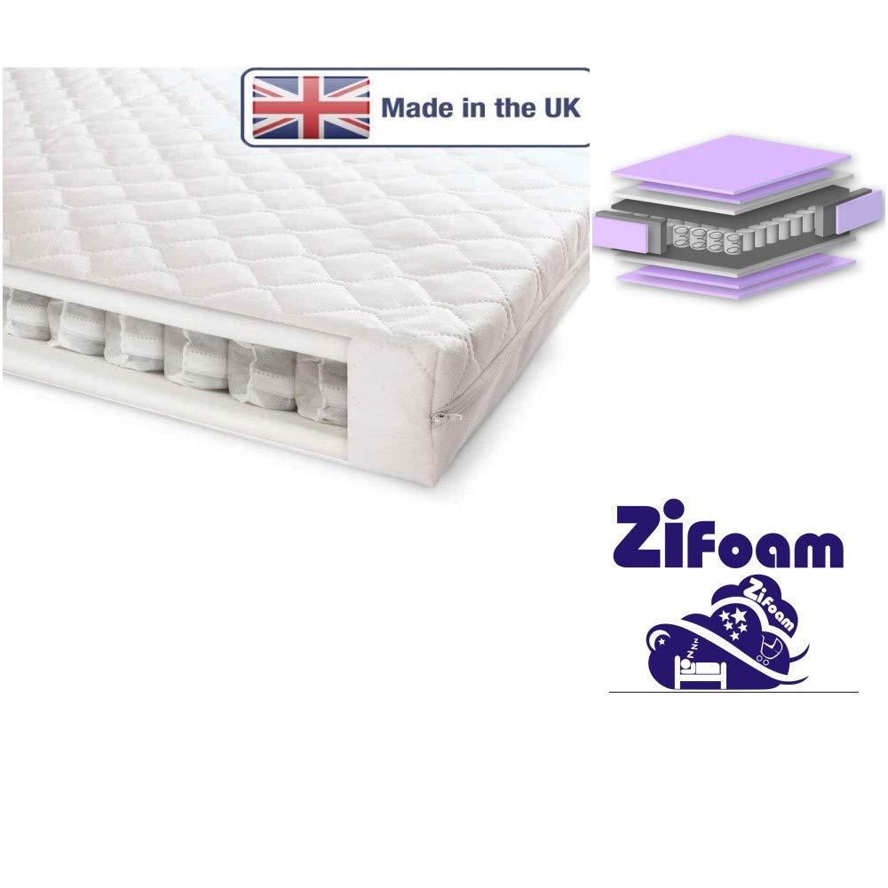 Superior Deluxe Baby Cot Bed Mattress -160x70x10cm & 160x80x11cm- Junior Bed Pocket Sprung British Made with High Grade Density Foam Zi Foam Ltd zsp16080p