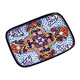 NOVICA Red and Blue Talavera Ceramic Floral Platter, Radiant Flowers'