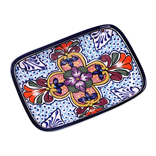 NOVICA 325763 Radiant Flowers Ceramic Serving Plate Multicolor