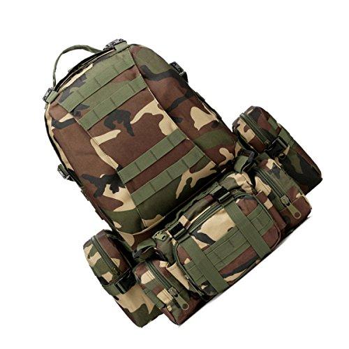 55L Taktischer Rucksack - SODIAL(R) 55L 3D Aussen Militaer Taktischer Rucksack Wandern Tasche Camping, Dschungeltarnung