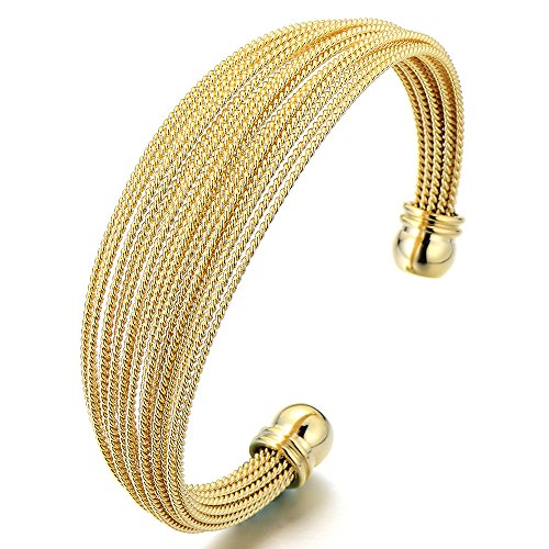 COOLSTEELANDBEYOND Multi-Strand Women's Stainless Steel Gold Color Adjustable Cuff Bangle - Gold Black Bracelets Strand