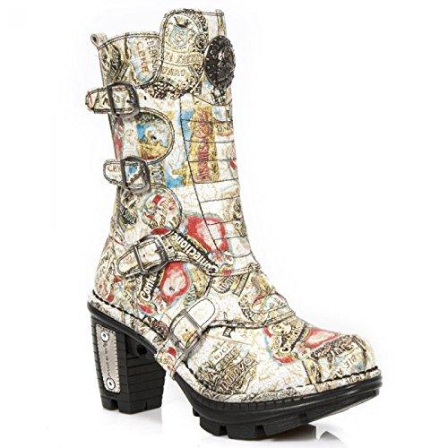 New Rock Laarzen M.neotr025-c2 Gothic Hardrock Punk Damen Stiefel Beige