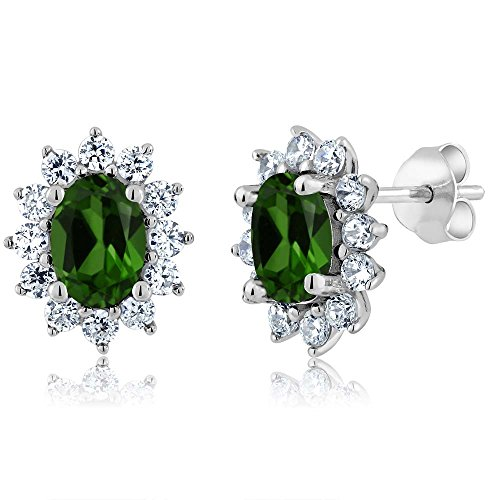 Gem Stone King 2.32 Ct Oval Green Chrome Diopside 925 Sterling Silver Earrings