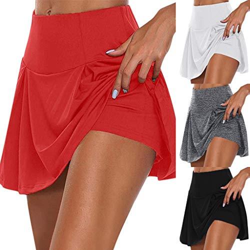 Jupes Shorts Femme Sport, Overmal 2 en 1 Grande Taille été Court Legging Ventre Plat Jupe de Badminton Shorts Amincissant Sudation Collants Skinny Elastique Moulant Yoga Pantalon