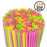 Cheap 210 Pack Large Milkshake / Smoothie / Slush Straws, Disposable Jumbo Extra Wide Thick Shake Long Plastic Drinking Straw, Assorted Colors, 9″